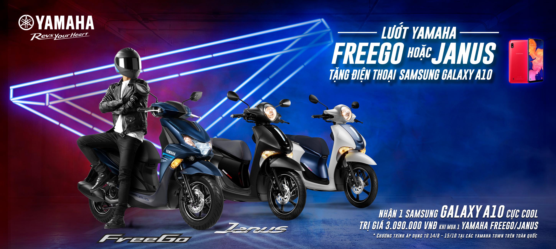 Lướt Yamaha FREEGO hoặc JANUS – TẶNG NGAY điện thoại Samsung GALAXY A10